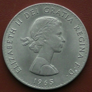 Image of the 1965 Winston Churchill Crown Obverse