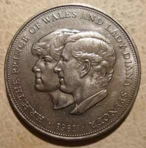 Reverse image of the 1981 Charles and Diana Crown