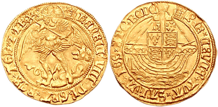 Obverse-and-Reverse-Henry-VIII-Angel-Coin-Gold