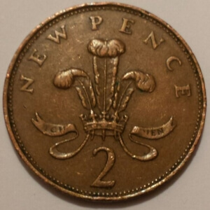 New Pence Inscribed 2 Pence Coin