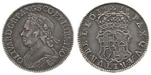 The Reverse and Obverse of the 1658 Cromwell half crown