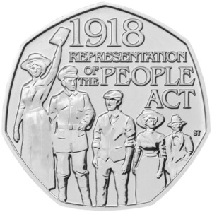 the 1918 Representation of the People 50p Coin