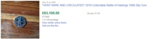 eBay listing showing a sold price of £63,100.00