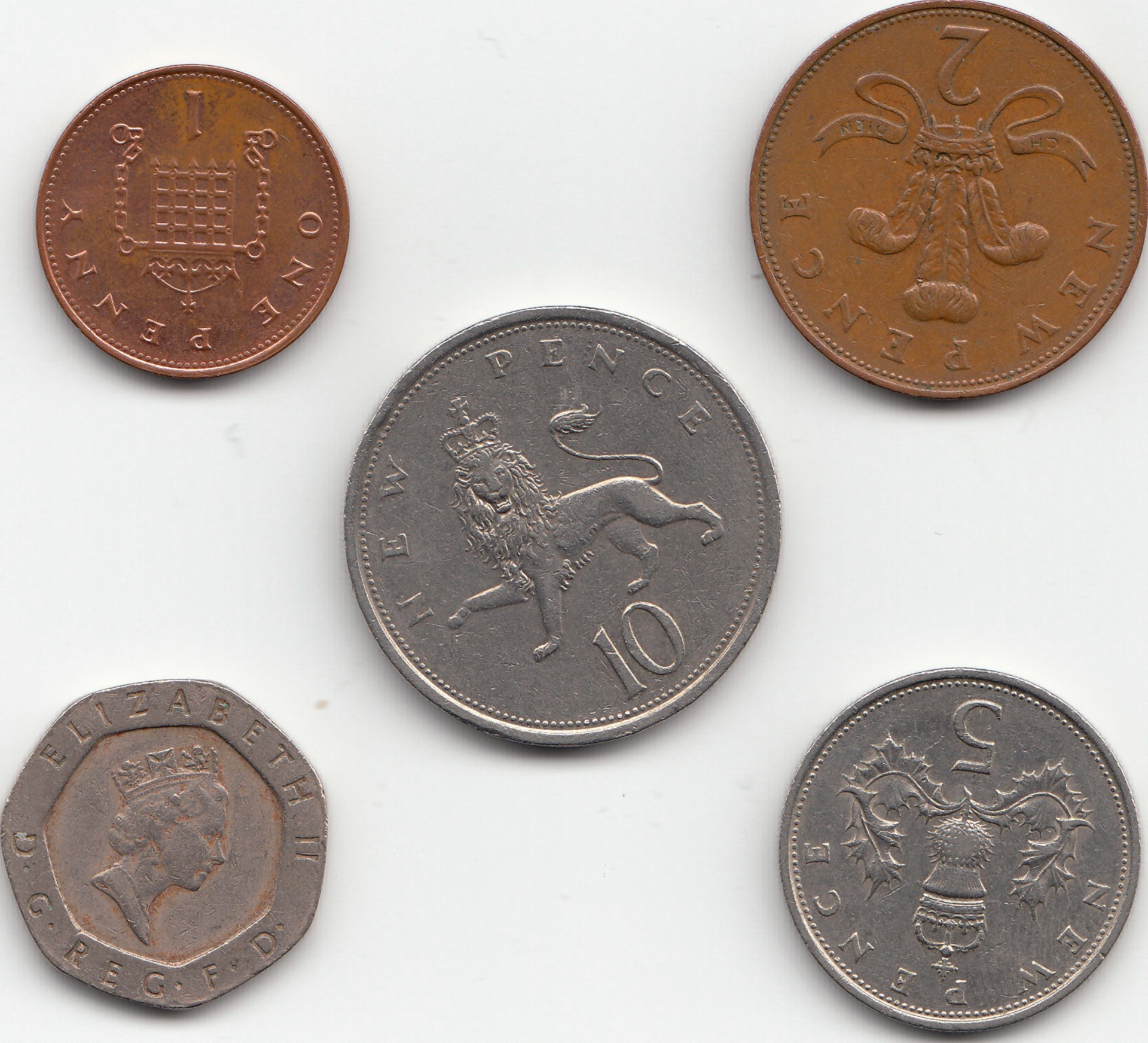 An image of a one, two, five, ten and twenty pence coin