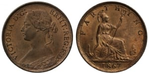 Bun head victoria farthing obverse (left) and reverse (right)