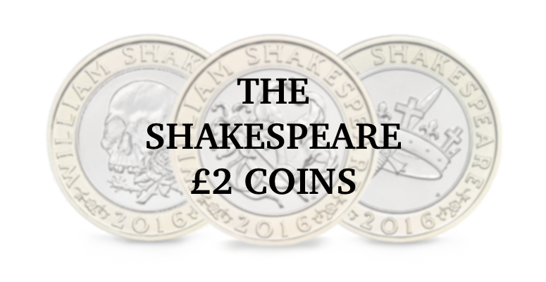A banner featuring the 3 Shakespeare £2 coins