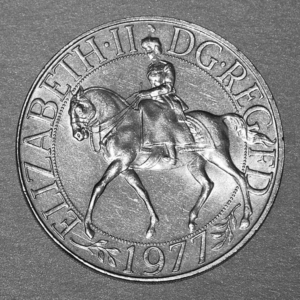 Obverse of the 1977 Silver Jubilee Crown