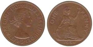 The 1954 elizabeth II penny