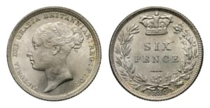Young head Victoria sixpence