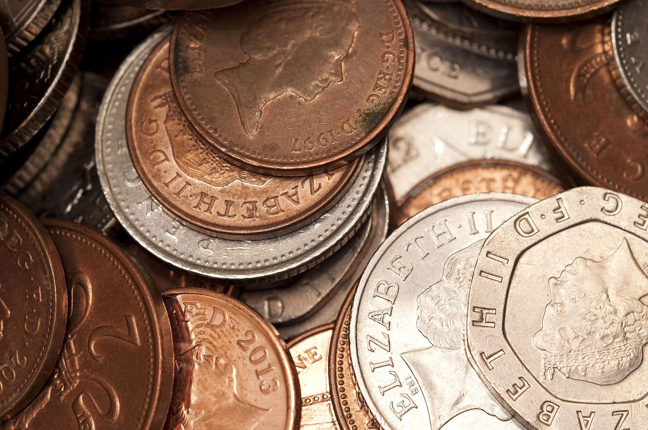 British Coins in a pile