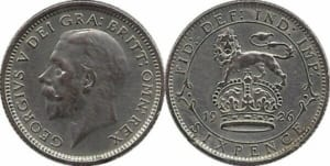 George V sixpence with lion reverse design