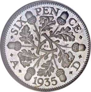 George V sixpence with acorn reverse design