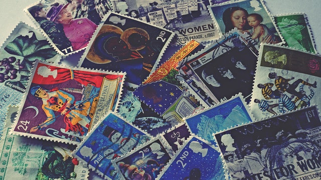 British stamps in a pile